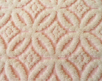 """Pink Wedding Ring Vintage Chenille Bedspread Fabric Piece...18 x 22"""""""