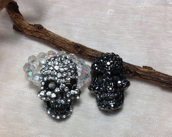 Free Shipping - Harmony - Black Skull Rings/Skull Stretch Rings/Rhinestone Skul Rings/Skull Crystal Stretch Rings/Crystal Stretch Rings