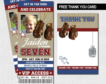 BOXING TICKET INVITATIONS Birthday Party + Thank You Card (print your own) Personalized Printable - Large Ticket Boxing Glove