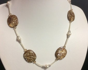 Brown Mother of Pearl Shell & CFW Pearl Necklace, Shell necklace