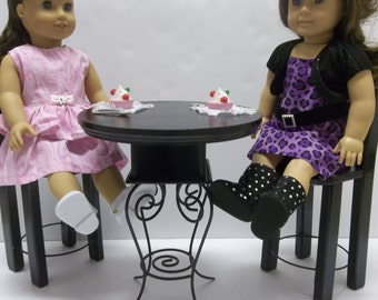 """Black Bistro Table For The American Girl Doll Like Grace and All 18"""" Dolls"""