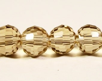 6mm Round Crystal Beads Sand Taupe Disco Ball Style Micro Faceted Chinese Crystal Glass Beads on a 7 Inch Strand with 33 Beads