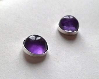 Amethyst sterling silver stud earrings 8mm round bezel set