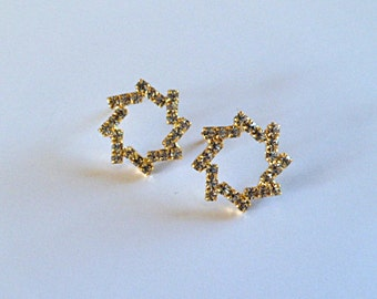 Open circle studs, gold sparkle earrings, rhinestone circle earrings.