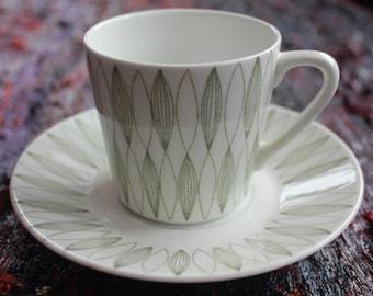 "Pair of 1950's ""Vuokko"" pattern coffee cups by Arabia Finland"