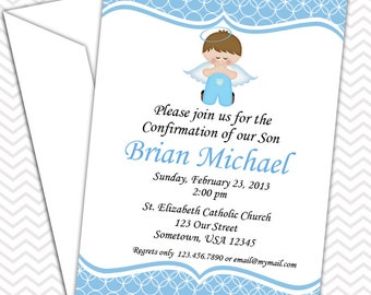 Kneeling Angel Boy Blue Invitation PRINTABLE - Baptism Christening First Holy Communion