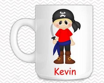 Pirate Kids Mug - Personalized Pirate Mug - Customized Mug - Melamine Cup - Personalized Kids cup