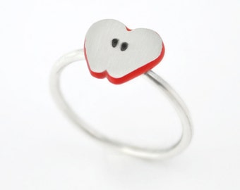 Tiny apple ring, sterling silver ring, tiny ring. Simple silver ring, red ring, jewelry