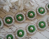 5 Antique Vintage c1940s French Glass Green White Seed Bead Faux Pearl Silver Metal Round Applique Button Doll Victorian Flapper Ribbon Trim