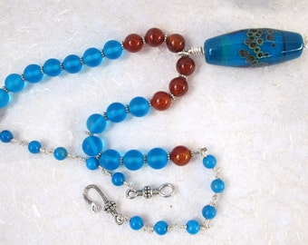 Turquoise Sea Glass, Carnelian and Howlite Wire Wrapped Necklace