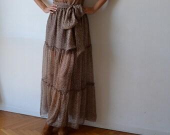 Silk gypsy skirt, half lined skirt, tiered skirt, long silk skirt, 1970s. Liberty ish floral print.