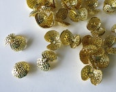 36 gold tone bead end caps clamshell crimping beads knot covers 2 hole