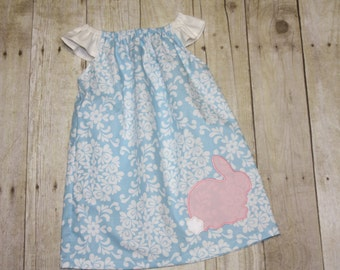 Bunny Dress for Baby, toddler, and girls peasant blue floral dress sz 12m, 18m, 24m/ 2, 3,4,5,6,7,8 pink bunny blue dress