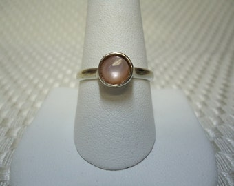Round Cabochon Pink Mother of Pearl Ring in Sterling Silver   #1317