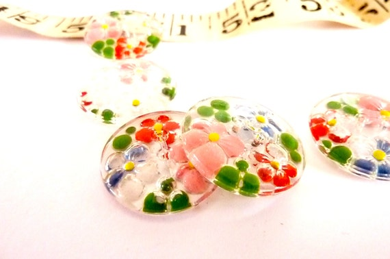 Set of 5 Vintage 1930's Art Deco Glass Buttons -  1930's  Flower Buttons - 5 Moulded Glass Hand -painted flower Buttonss
