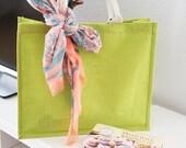 15 % ON SALE Large Burlap Tote Bag : Shopping Bag - Beach Bag - Cotton Handles