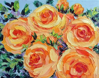 Oil Painting Yellow Rose Impasto Painting Garden Flower Textured Palette Knife Original Art Small Canvas 8x10