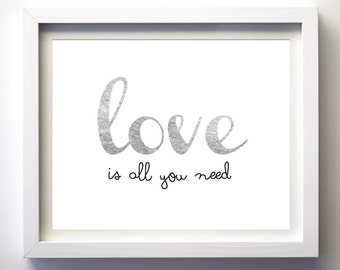 Love is all you need nursery wall art Silver foil heart love art print, silver heart wall art wall wall decor silver grey love art print