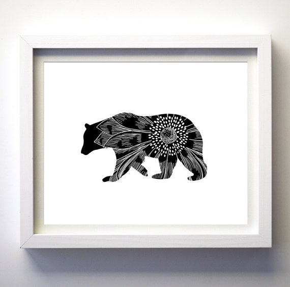 Black And White Floral Wall Decor : Bear art print floral black and white wall decor