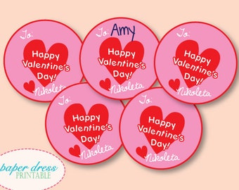 Valentine's Day Personalized Tags - Happy Valentine's Day - Printable PDF file
