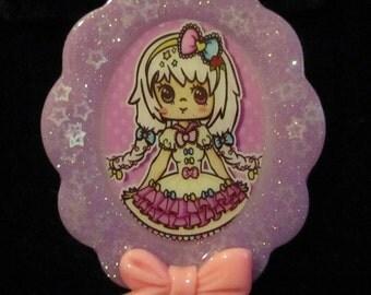 Kawaii Girl Doll Necklace-Purple Handmade Resin Cameo