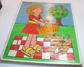 Vintage playskool wooden puzzle picnic