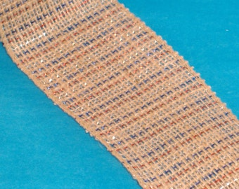 Jute Wire Edge Ribbon with Red, Blue and White Metallic Weave - BTY - Destash