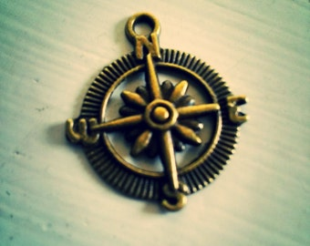 Compass Pendants-Nautical Pendants-Charms-Antiqued Bronze-29mm-50pcs Wholesale Charms Pendants BULK PREORDER