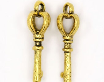 Bulk Skeleton Keys Crown Keys Key Charms Pendants Antiqued Gold Wholesale Keys 26mm 100pcs