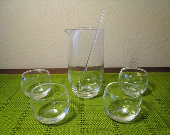 30% Off SALE Roly Poly Cocktail Set with Pitcher / Mixer, Glass Stirrer Twizzle, 4 Mini Roly Poly Shot Glasses - MCM Bar Ware Beaker Carafe