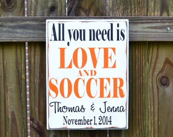 All you need is LOVE and SOCCER, Gift for him, Anniversary Gift for Him, Gift for Couple, Wedding Gift for Him, Gift for Husband, Sports