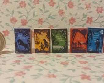 Dollhouse miniature set of 6 victorian books