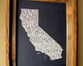 California In A Nutshell Word Art Map Print (Dark Blue)