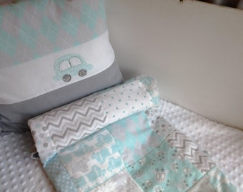 Car and Truck Baby Quilt and Matching Pillow, Gray and Aqua Nursery Bedding, Turquoise and Gray Vehicle Crib Quilt and Car Pillow