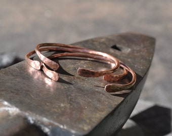 Open Bangle Cuffs - Hammered Copper - Three Stacking