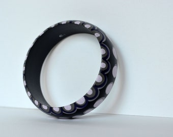 Hand Painted Black, Grays and Purples Bracelet