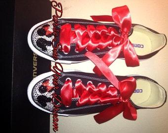 Custom Swarovski Crystal Minnie & Mickey Mouse Converse Shoes - Minnie Birthday - Mickey's Clubhouse - Swarovski Crystal - Disney Shoes