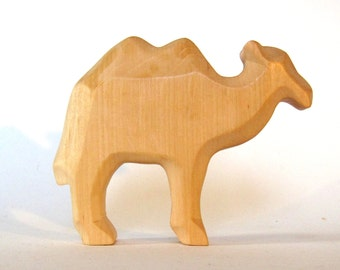 Camel, wooden animal, Waldorf toy, hand-carved,