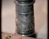 Reserved for Julie, Turn of the Century Engraved Pewter Salt & Pepper Shakers