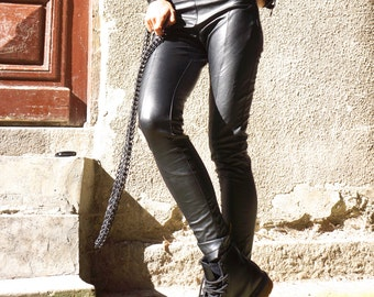 NEW COLLECTION Black All Leather Leggings / Eco Leather Pants  / Spring NEW  by Aakasha_A05162