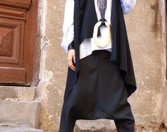 NEW Collection Black  Drop Crotch  Pants / Extravagant Black  Cold Wool  Trousers by AAKASHA A05188