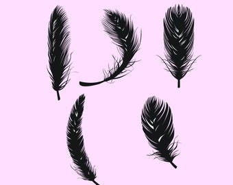 Feather silhouette digital clipart vector eps png Set Clip Art Images Instant Download