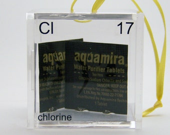 Chlorine - Periodic Table of Elements Cube Ornament