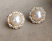 gold pearl earring, gold earring,Bridal Pearl earring, GOLD, gold bridal earring, ivory pearl earring, stud post FILIGREE