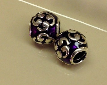925 Sterling Silver Plated Purple ornate european type charm with the large hole.