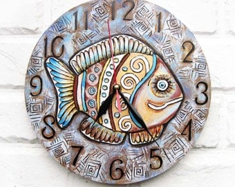Fish Wall Clock. Handmade. Wood wall clock. Dad Gift, Gift to our Father, Dad Appreciation Gift, Fathers Day Gift.