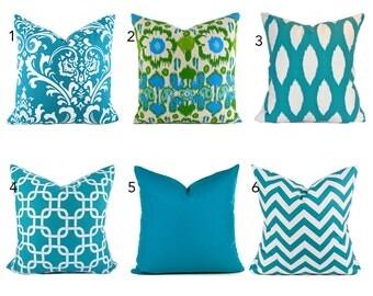 Turquoise Pillow Covers ANY SIZE Decorative Pillow Cover Turquoise Blue Pillows You Choose