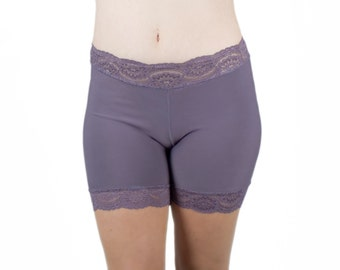 Bamboo Biker Shorts Ultra Soft Purple Jersey Lace Pajamas Anti Chafe Shorties