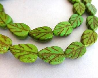 Full Strand of Green Leaf Turquoise, Magnesite Gemstone Beads