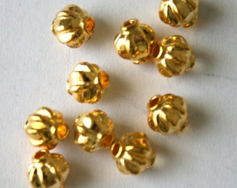 10 Bright Gold Plated Lantern Metal Spacer Beads
